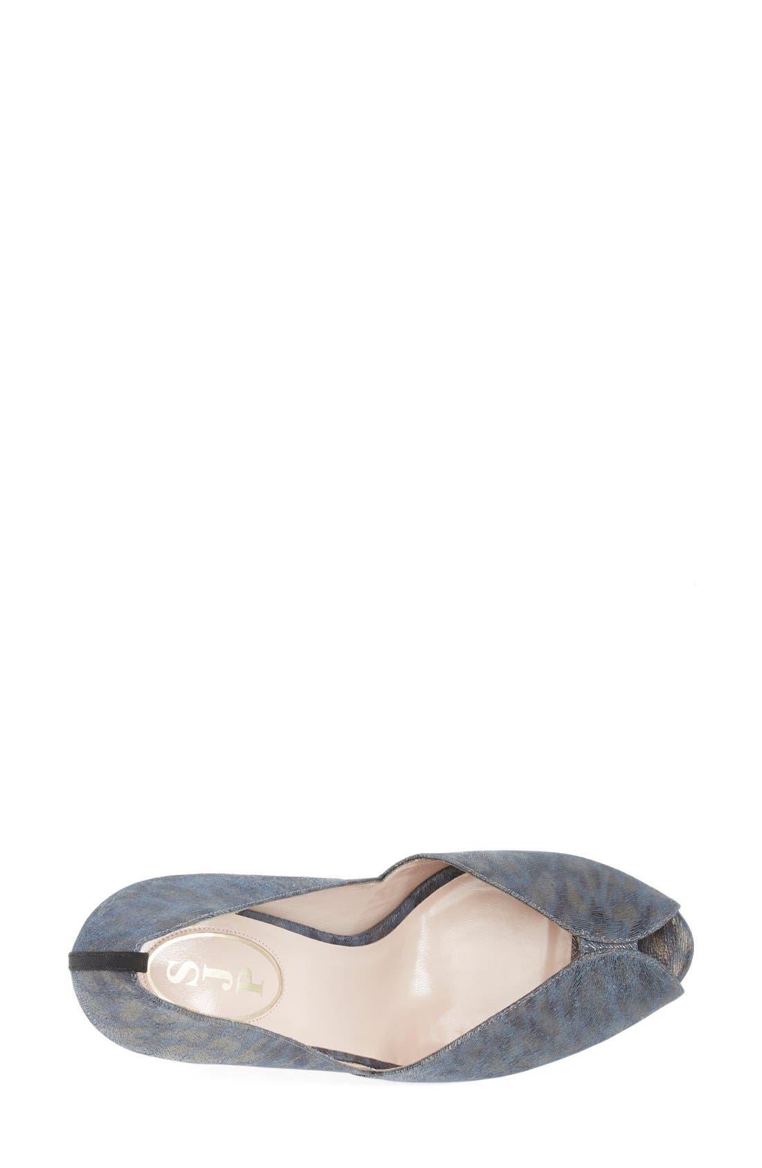 'Naomi' Peep Toe Pump,                             Alternate thumbnail 3, color,                             Blue Leopard Leather