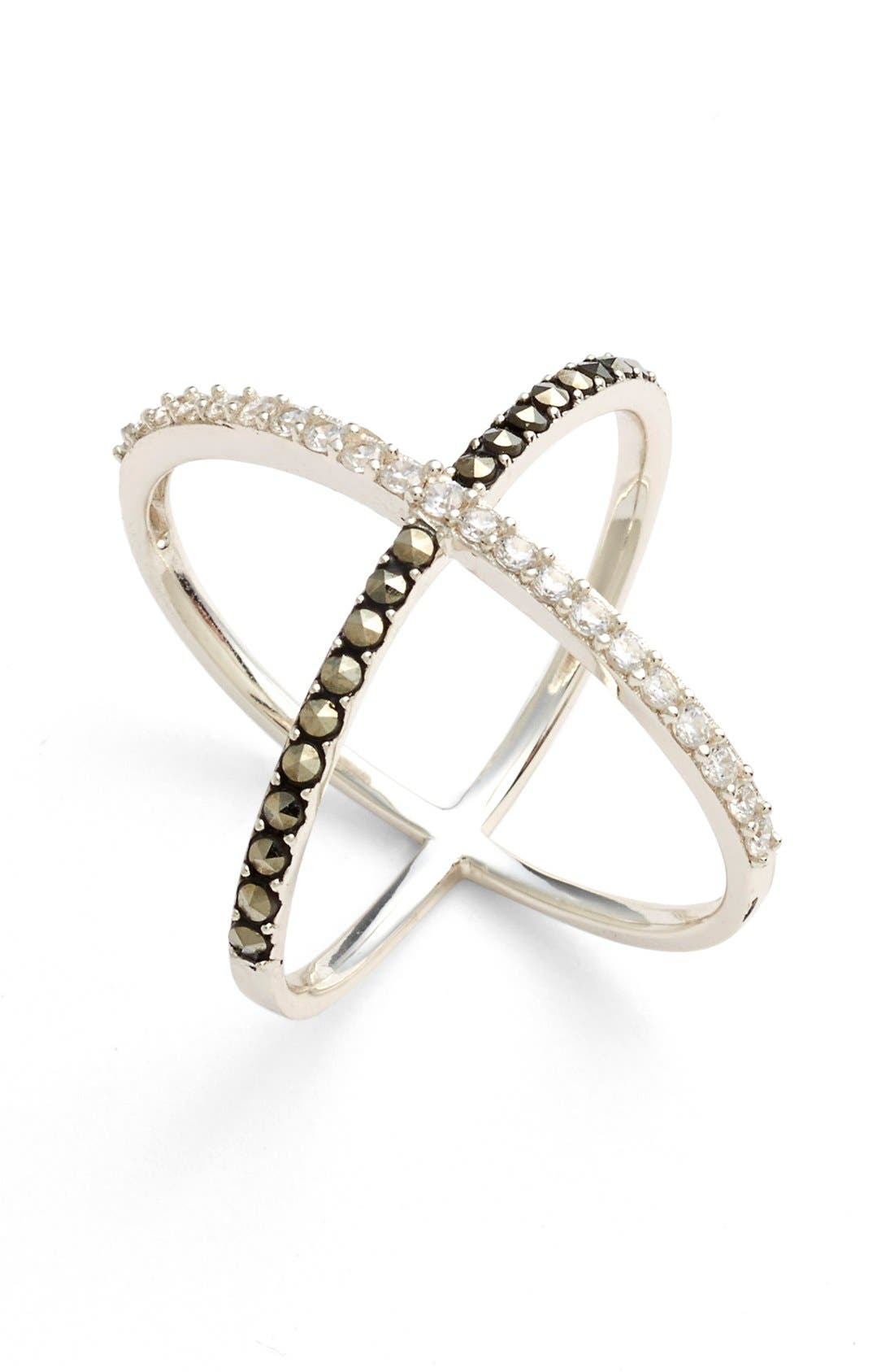'Rings & Things' Crossover Ring,                         Main,                         color, Silver/ Marcasite/ Crystal