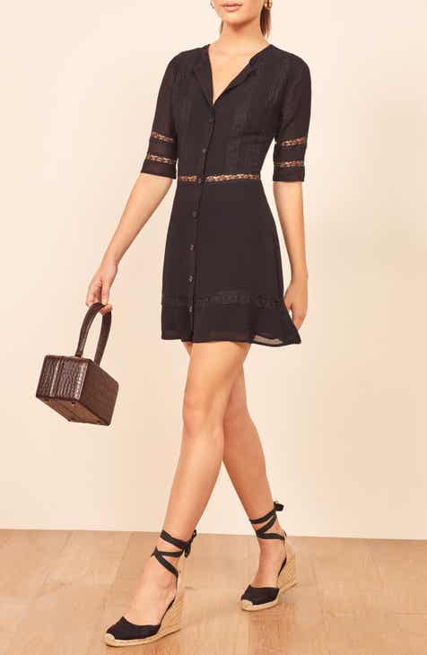 Reformation Sonnet Lace Trim Minidress