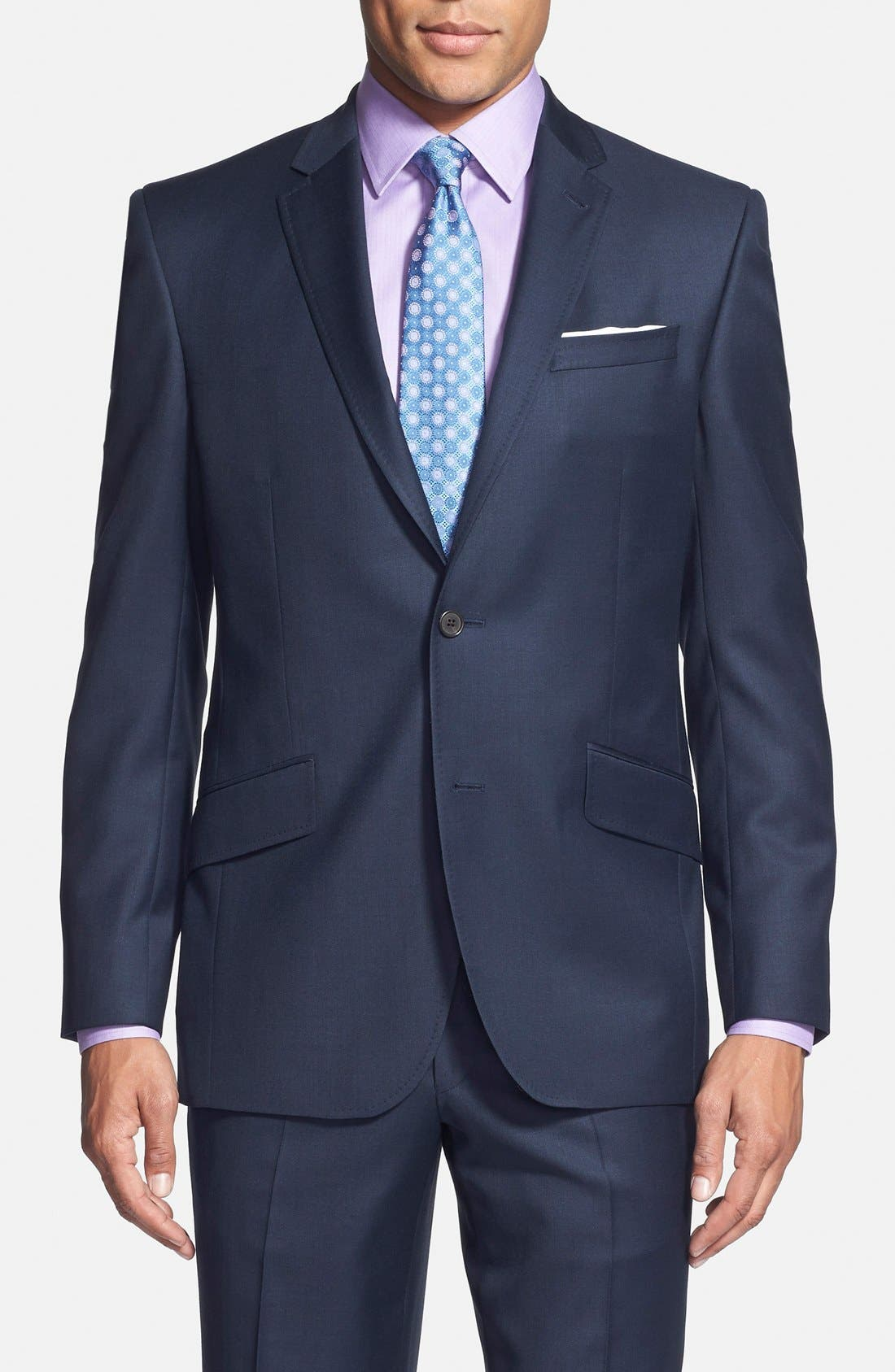 Jones Trim Fit Solid Wool Suit,                             Alternate thumbnail 4, color,                             Blue