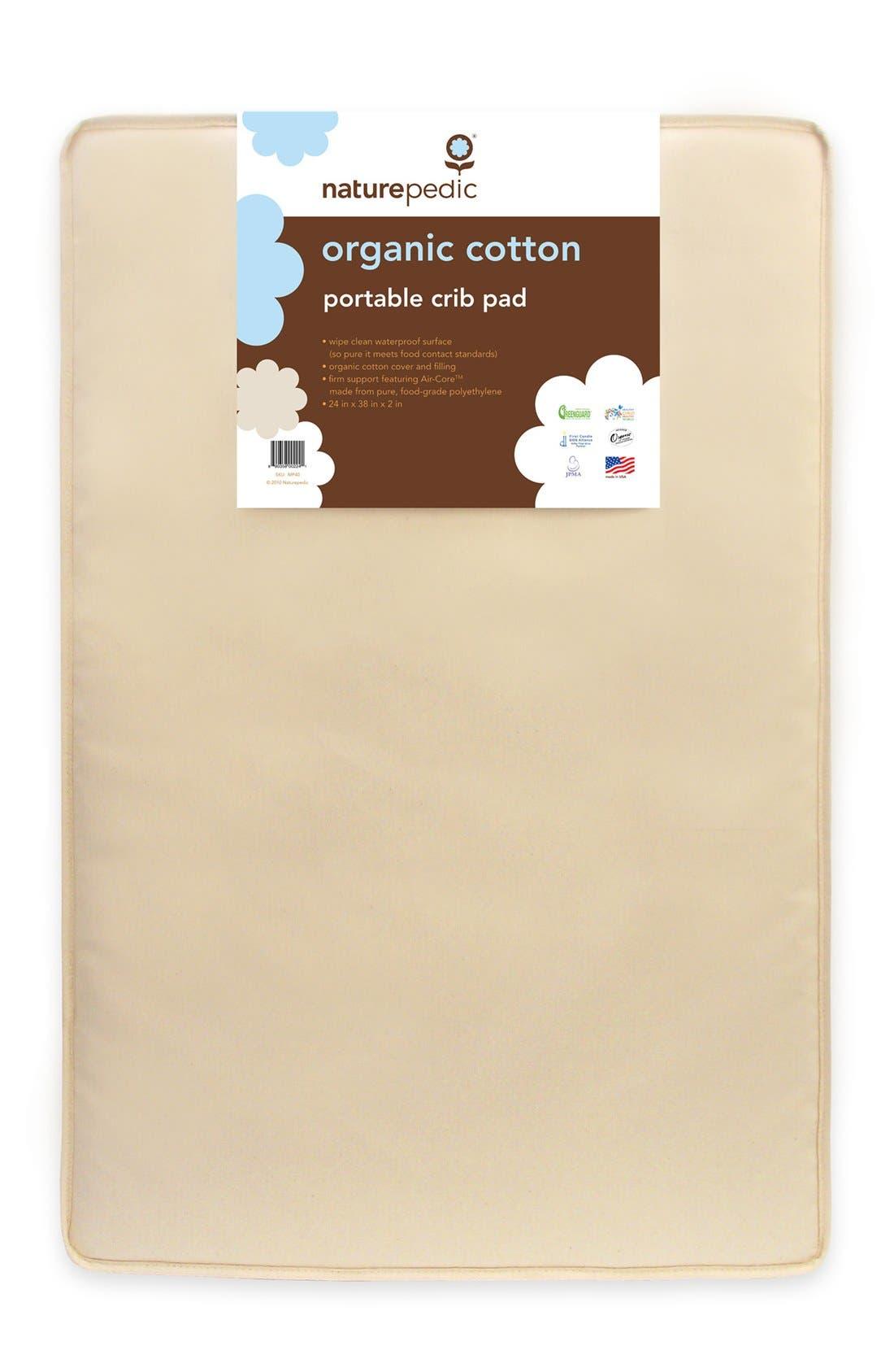 Organic Cotton Portable Crib Pad,                         Main,                         color, Natural