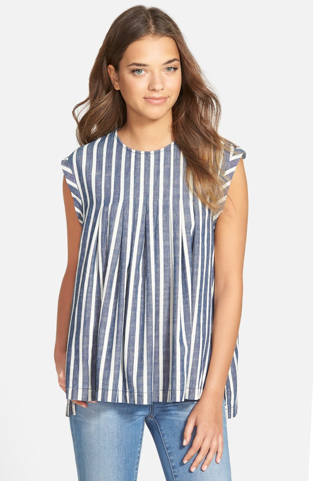 Alternate Image 1 Selected - Madewell Inverted Pleat Cap Sleeve Top