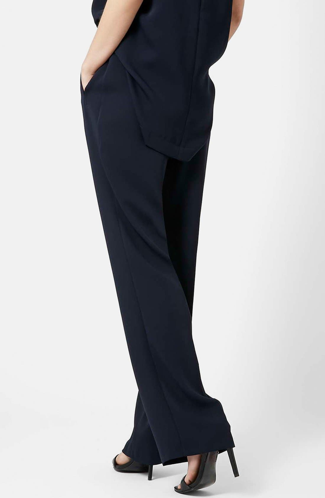 Slouchy Straight Leg Trousers,                             Alternate thumbnail 2, color,                             Navy Blue