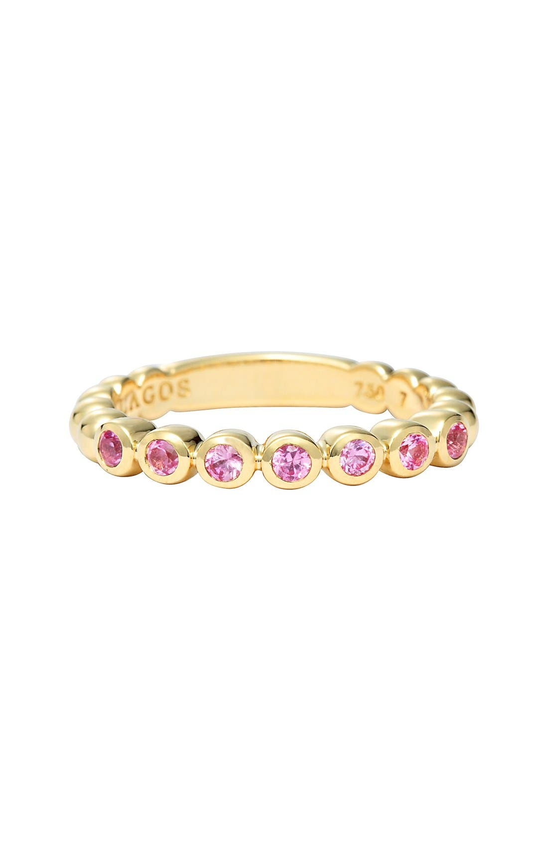 Covet Stone Caviar Stack Ring,                             Alternate thumbnail 2, color,                             Gold/ Pink Sapphire