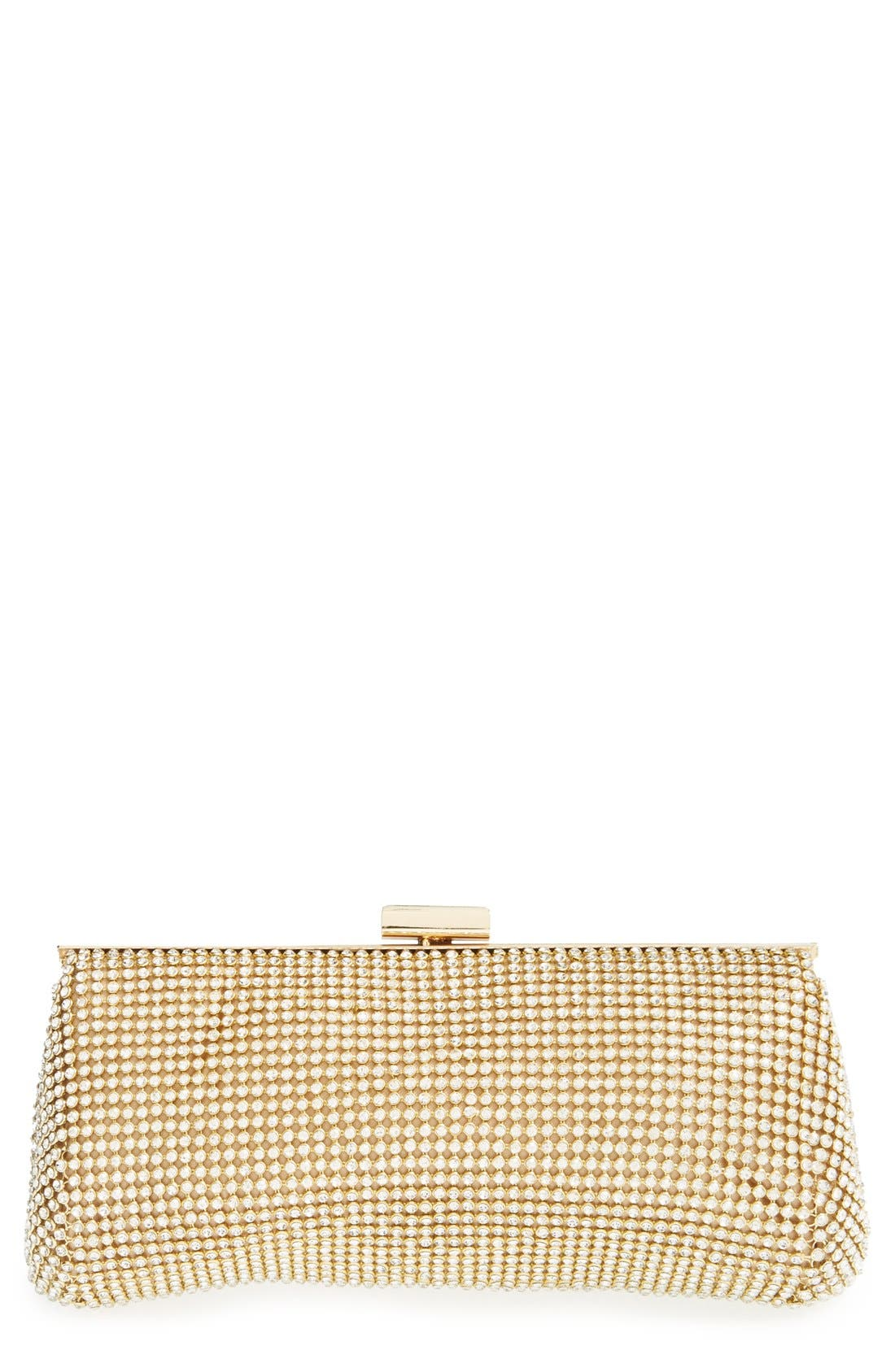 Crystal Mesh Clutch,                         Main,                         color, Gold