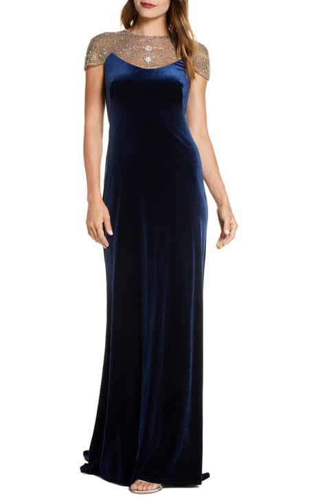 Tadashi Shoji Embellished Velvet Gown