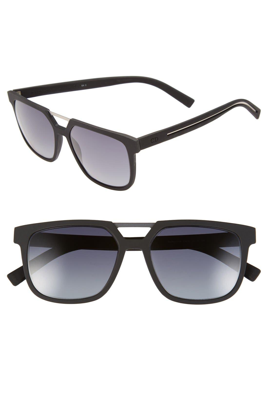 Dior '220S' 55mm Sunglasses,                         Main,                         color, Matte Black/ Grey Gradient