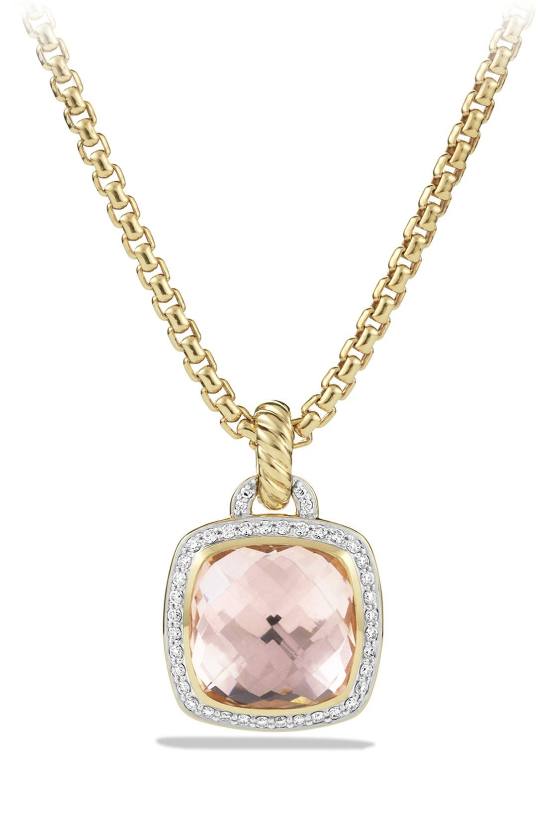 'Albion' Pendant with Lemon Citrine and Diamonds in 18k Gold,                         Main,                         color, Morganite