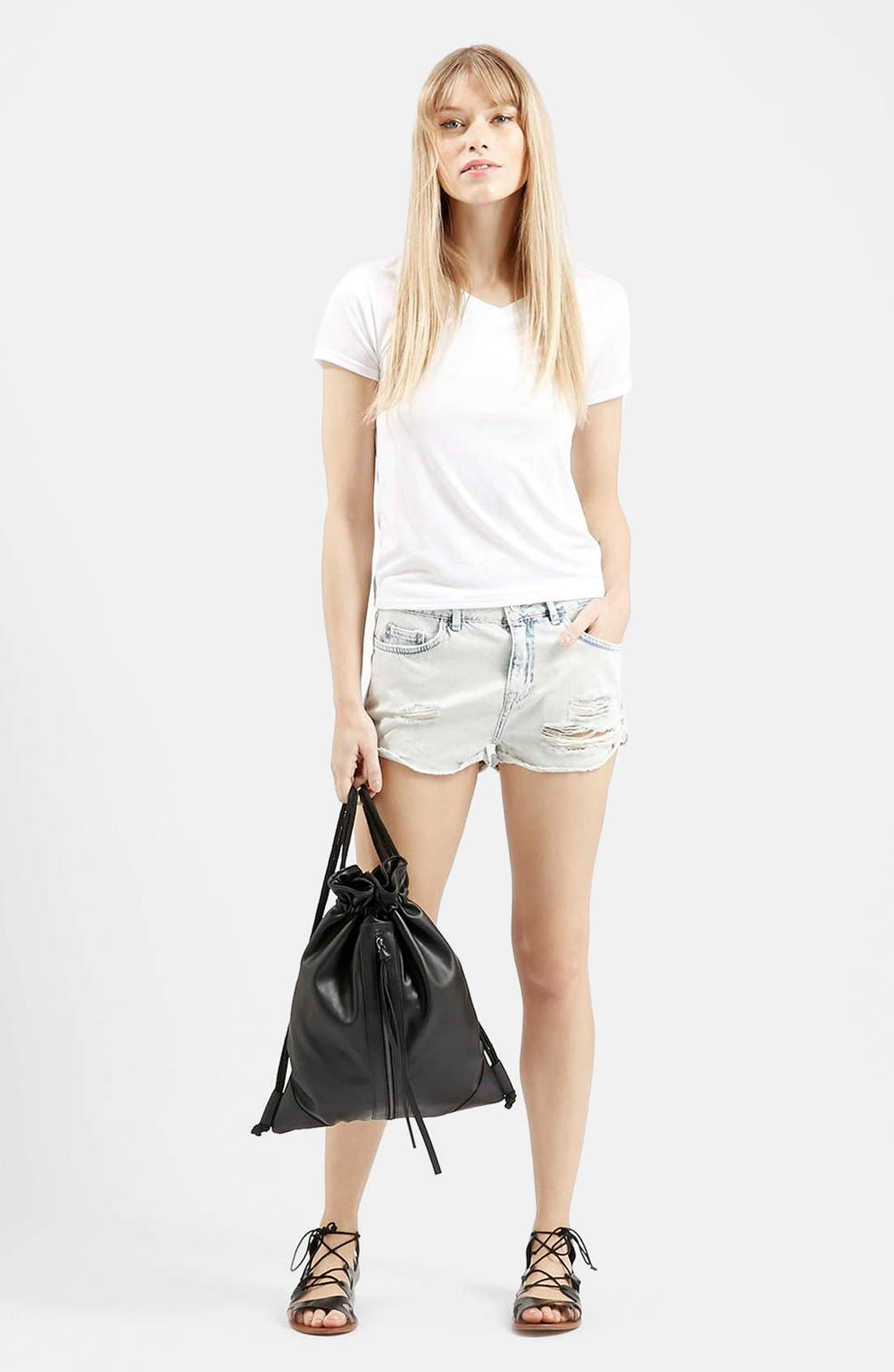 Alternate Image 5  - Topshop Moto 'Hallie' Bleach Cutoff Shorts (Light Denim) (Petite)