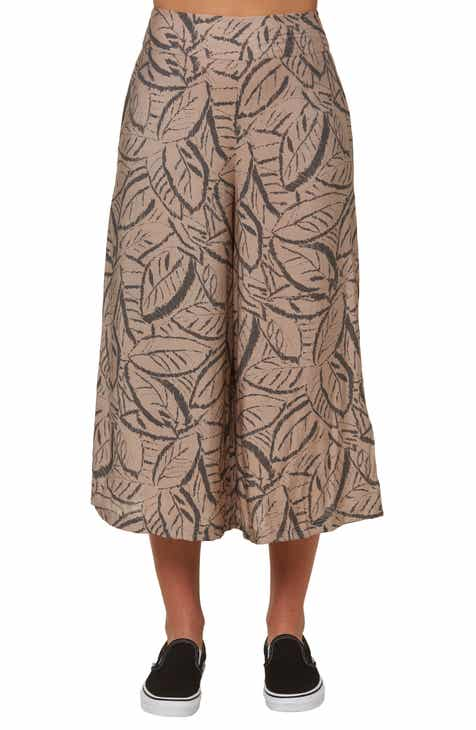 O'Neill Colin Palm Print High Waist Woven Crop Pants
