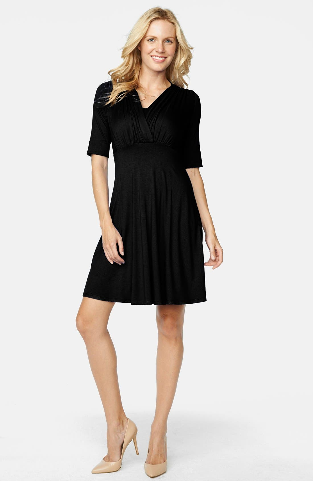 'Tummy Tuck' Maternity/Nursing Three Quarter Sleeve Dress,                             Main thumbnail 1, color,                             Black