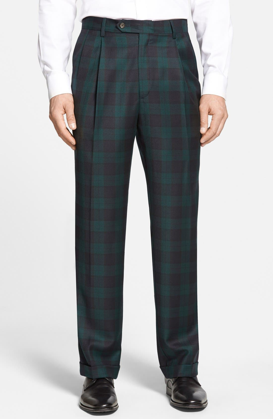 Pleated Plaid Wool Trousers,                             Main thumbnail 1, color,                             Green