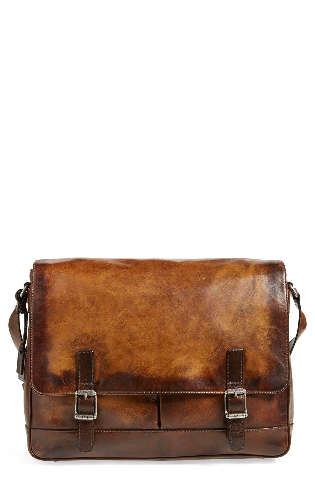 'Oliver' Leather Messenger Bag,                             Alternate thumbnail 7, color,                             Dark Brown
