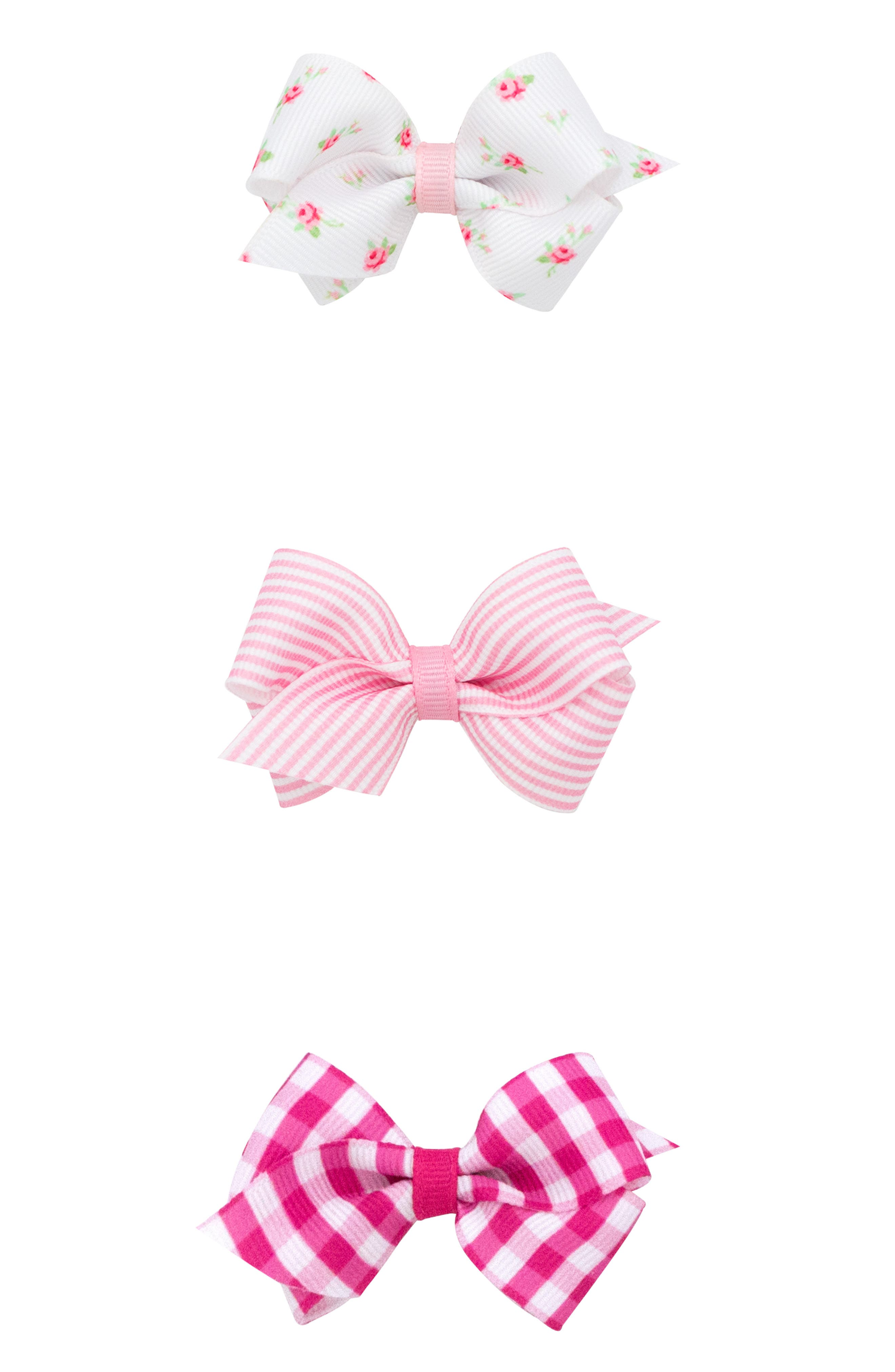 Black 3 Pack of Girls Bow Butterfly Motiff Design Sunglasses Pink and Red