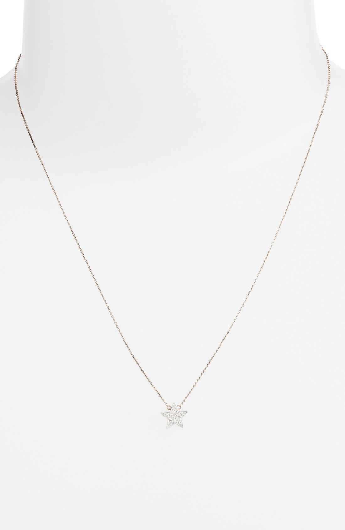 'Julianne Himiko' Diamond Star Pendant Necklace,                             Alternate thumbnail 2, color,                             Rose Gold/ White Gold