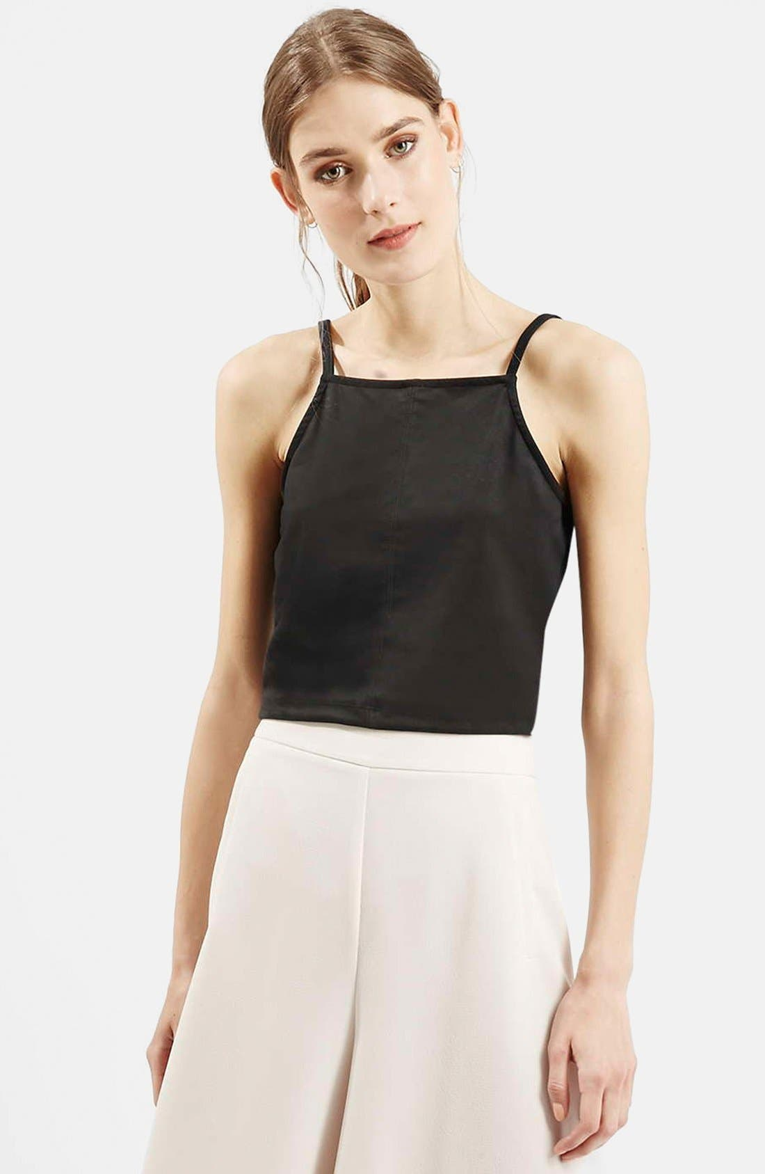 Alternate Image 1 Selected - Topshop 'Suedette' Square Neck Crop Top