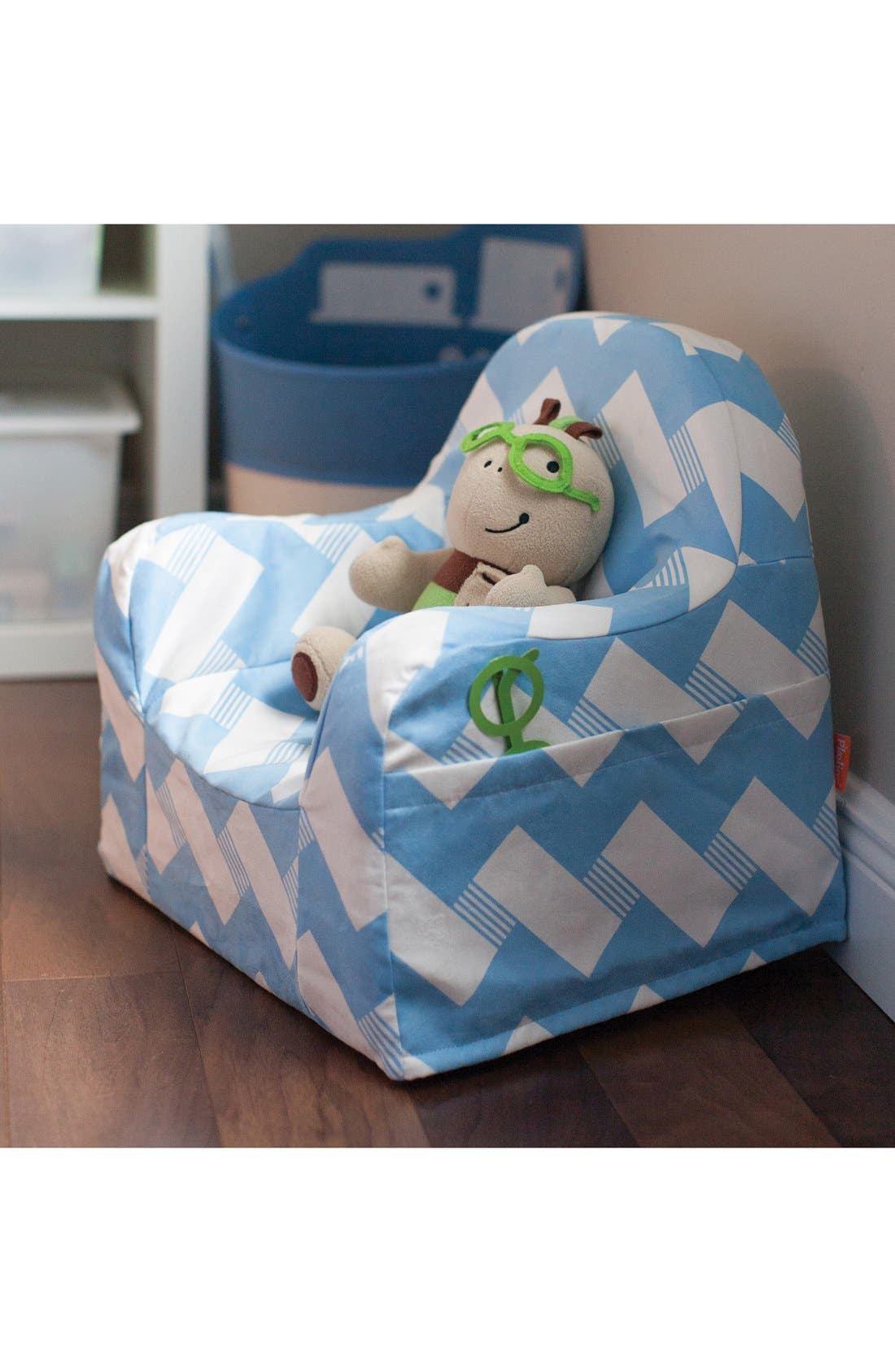 'Personalized Little Reader' Chair,                             Alternate thumbnail 3, color,                             Zigzag Blue
