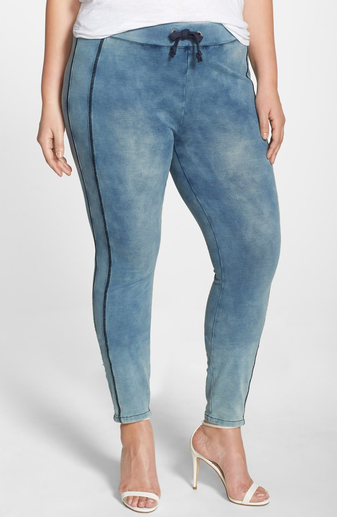 Main Image - Poetic Justice 'Naomi' Stretch Knit Denim Jogger Pants (Plus Size)