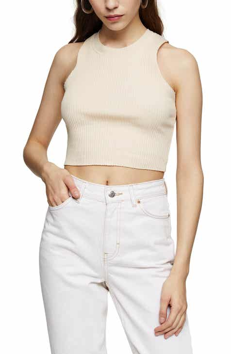Topshop Wide Rib Racerback Cotton Blend Crop Tank Top