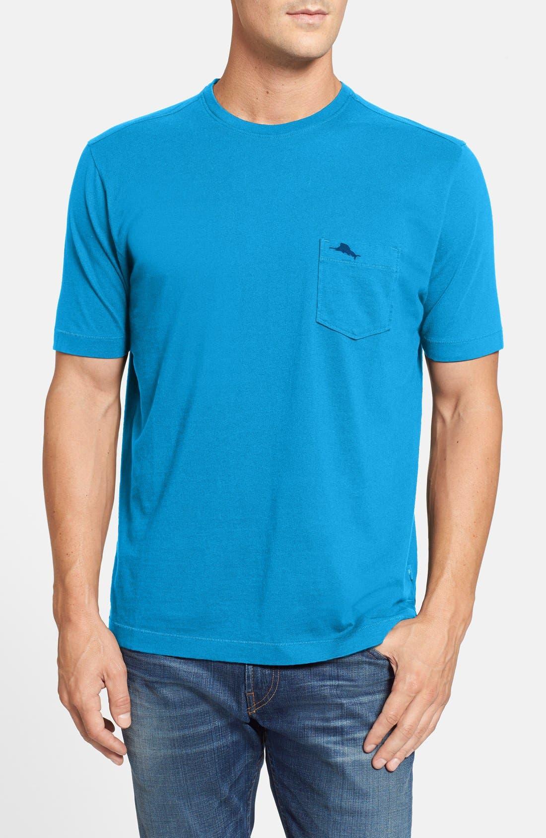 New Bali Sky Pima Cotton Pocket T-Shirt,                         Main,                         color, Como Blue