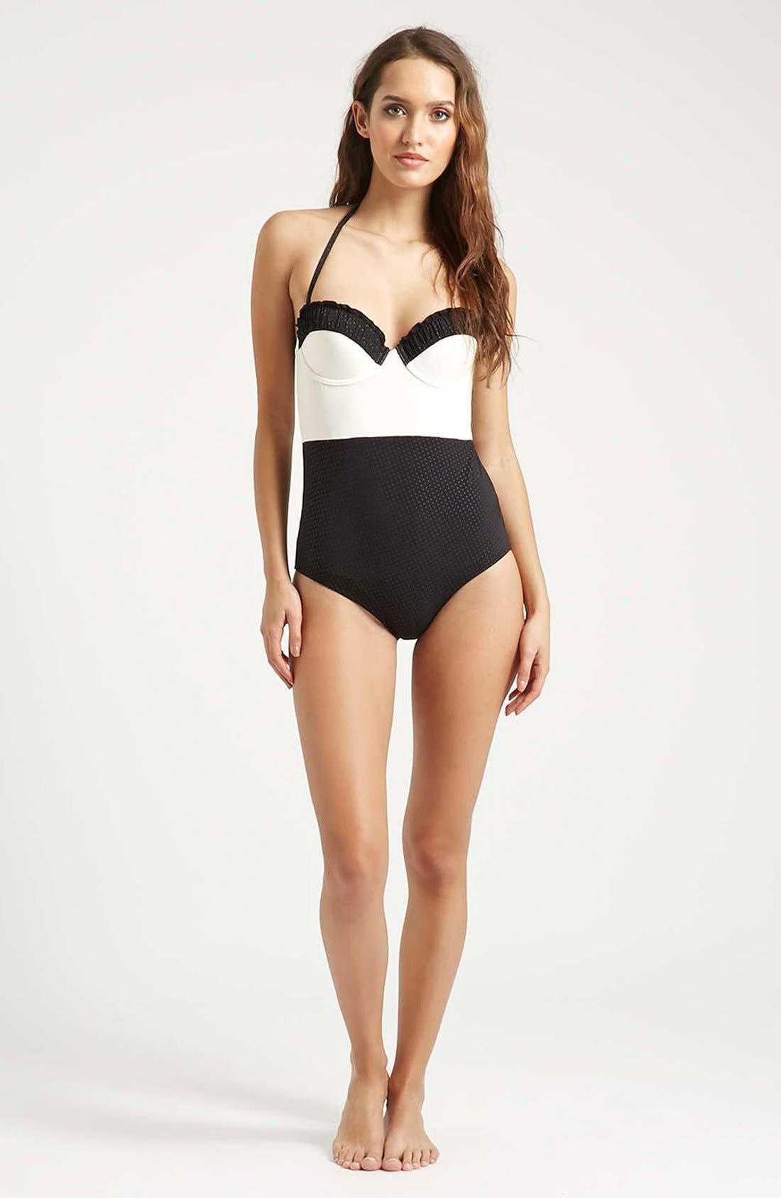 Alternate Image 4  - Topshop 'Florie' Ruched One-Piece Swimsuit