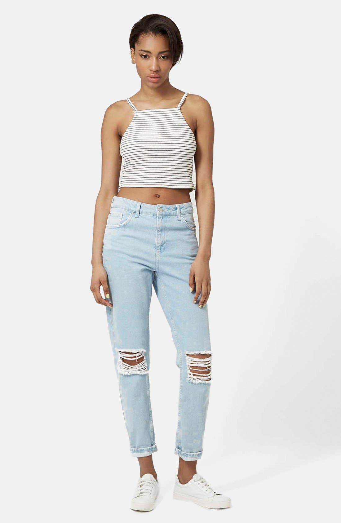 Alternate Image 5  - Topshop Square Neck Stripe Crop Top (Petite)