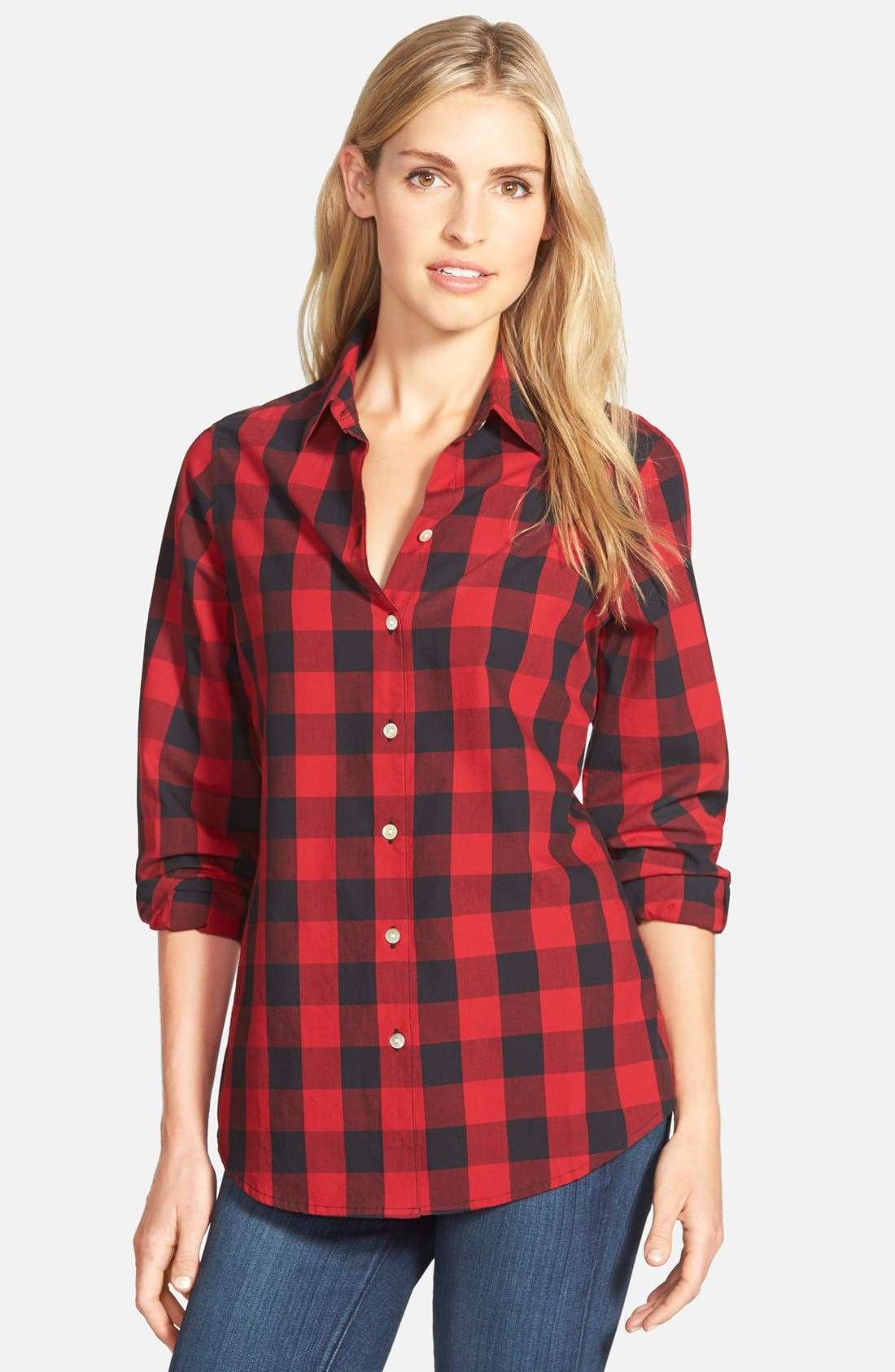 Buffalo Check Cotton Shirt,                             Main thumbnail 1, color,                             Red Multi