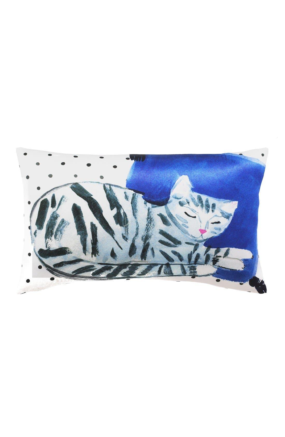 'cat nap' accent pillow,                             Main thumbnail 1, color,                             White/ Multi