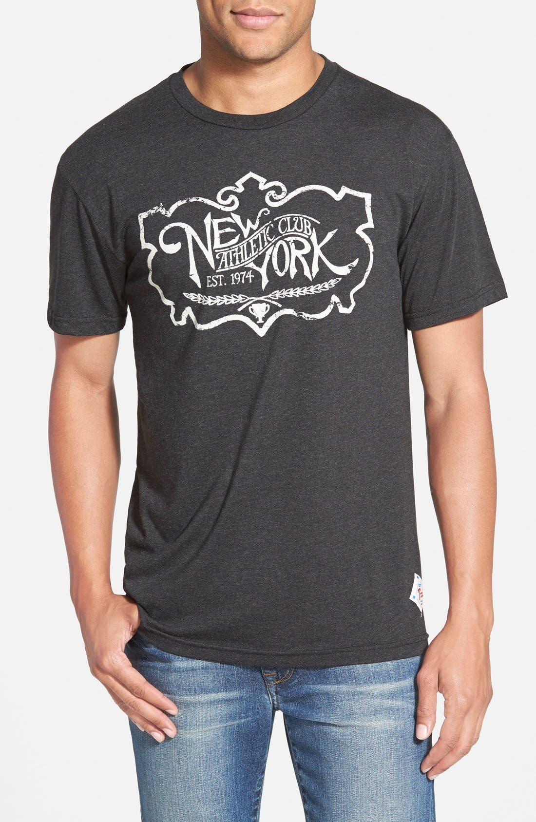 'NY Athletic Club' Graphic T-Shirt,                         Main,                         color, Black