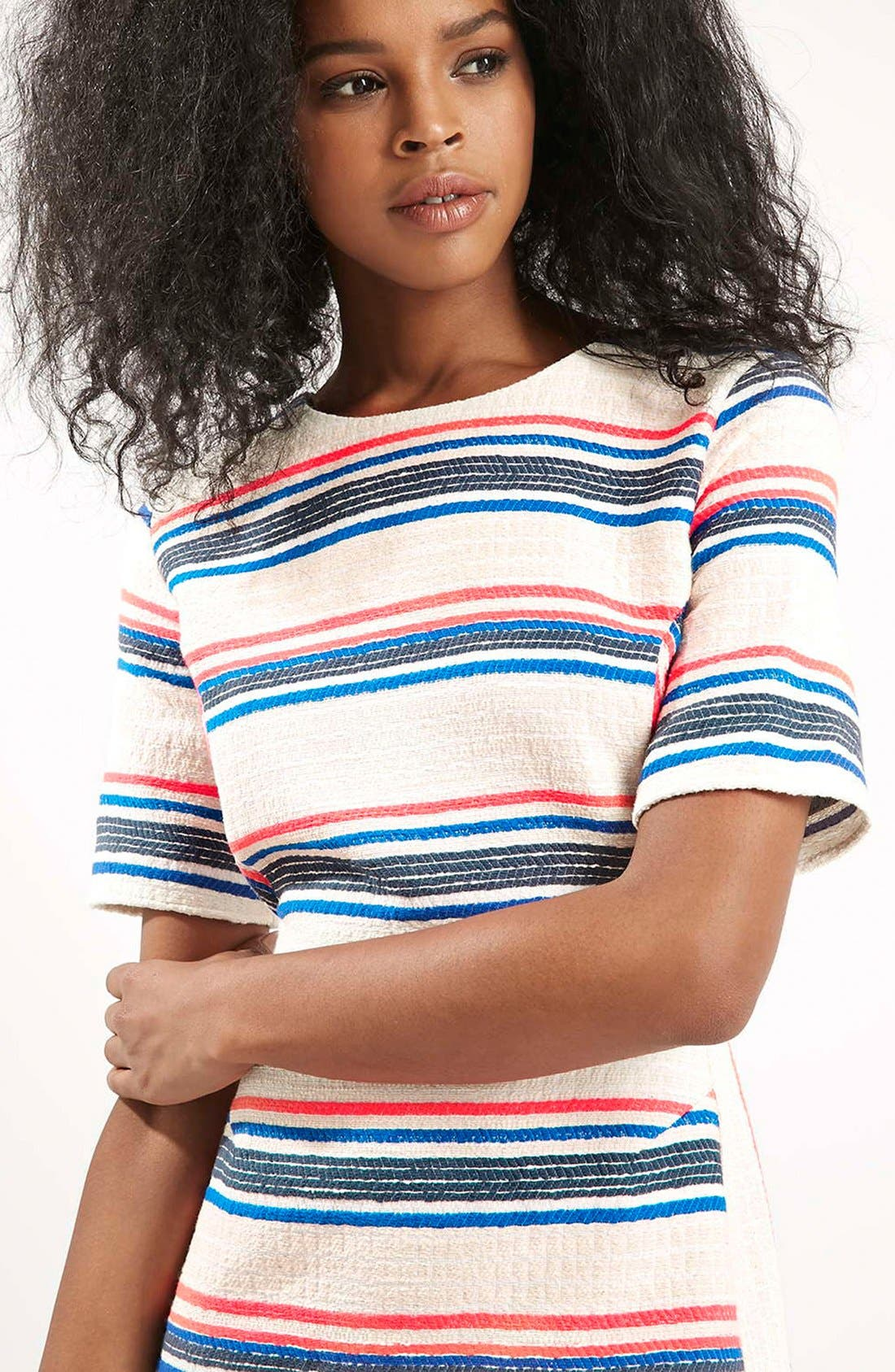 Alternate Image 4  - Topshop Stripe Jacquard A-Line Dress (Regular & Petite)