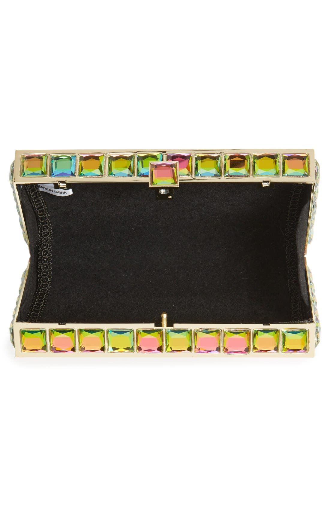 Natasha Couture Box Clutch,                             Alternate thumbnail 4, color,                             Iridescent