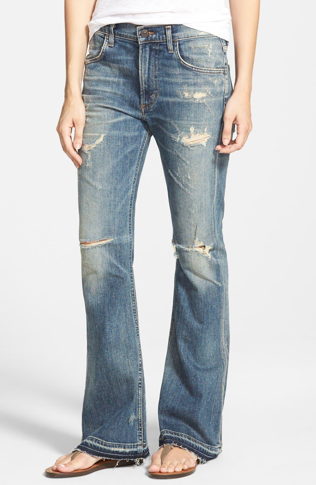 'Drew Flip Flop' Flare Jeans,                             Main thumbnail 1, color,                             Rip It Up