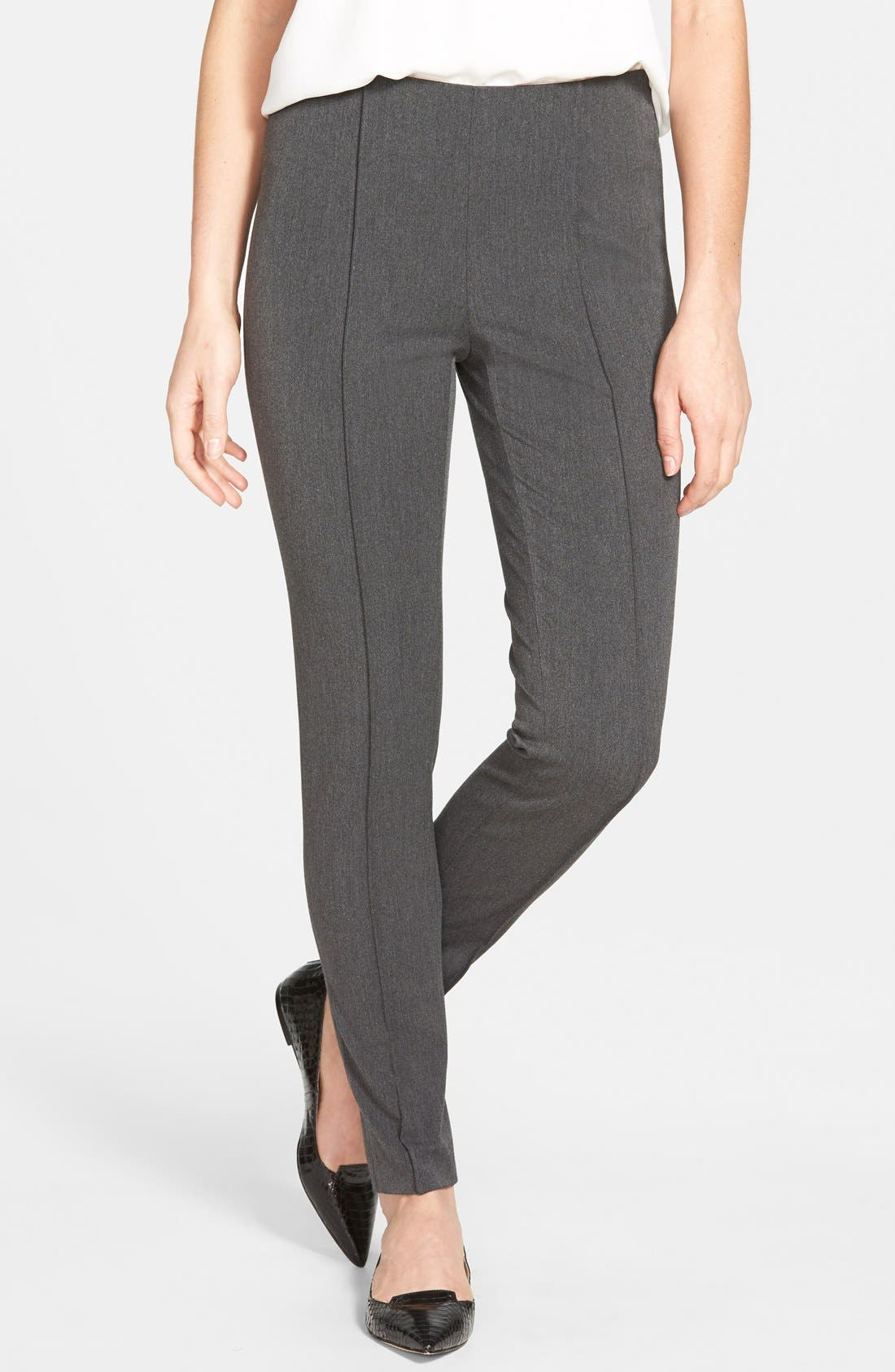 Side Zip Stretch Twill Pants,                             Main thumbnail 1, color,                             Dark Heather Grey