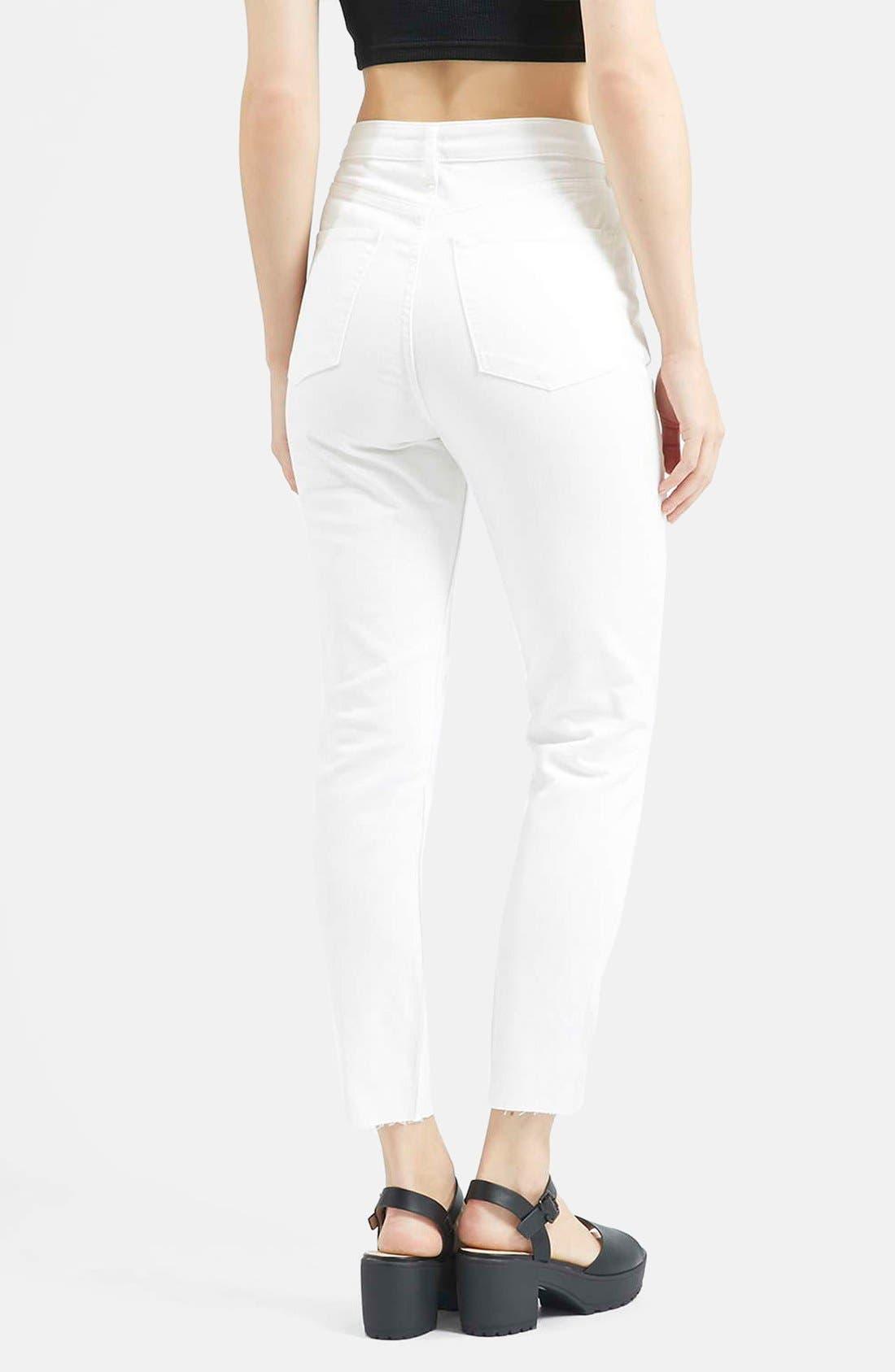 Alternate Image 2  - Topshop Moto 'Binx' Button Front Slim Jeans (White)