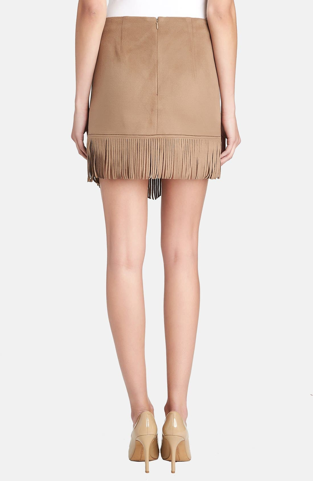 Alternate Image 2  - 1.STATE Fringe Trim Faux Suede Wrap Skirt