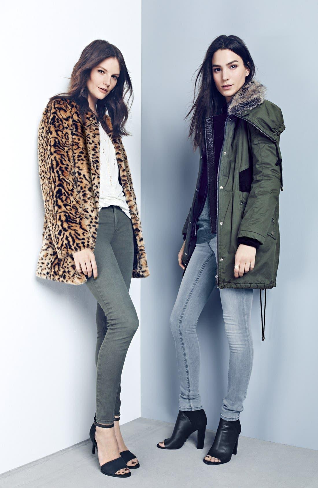 Faux Fur Leopard Print Coat,                             Alternate thumbnail 4, color,