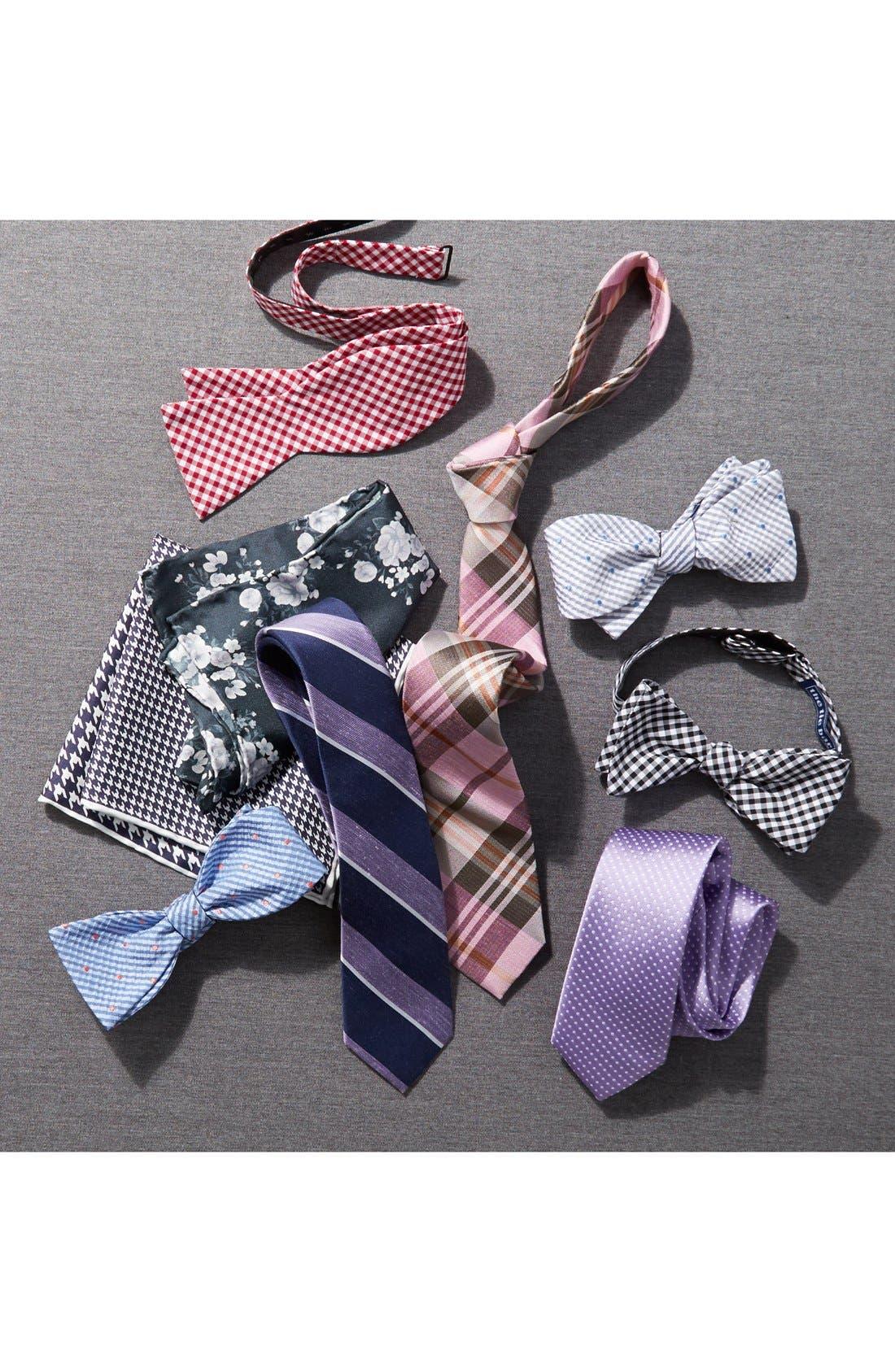 'Crystal Wave' Silk & Linen Plaid Tie,                             Alternate thumbnail 4, color,