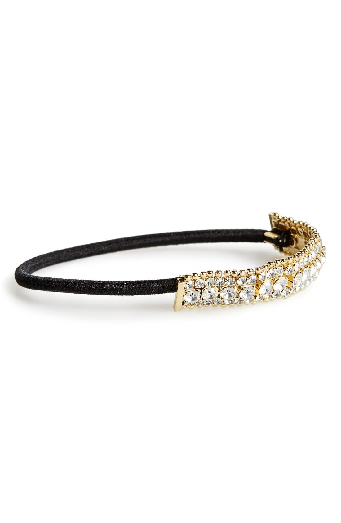 Crystal & Ball Chain Ponytail Holder,                         Main,                         color, Gold