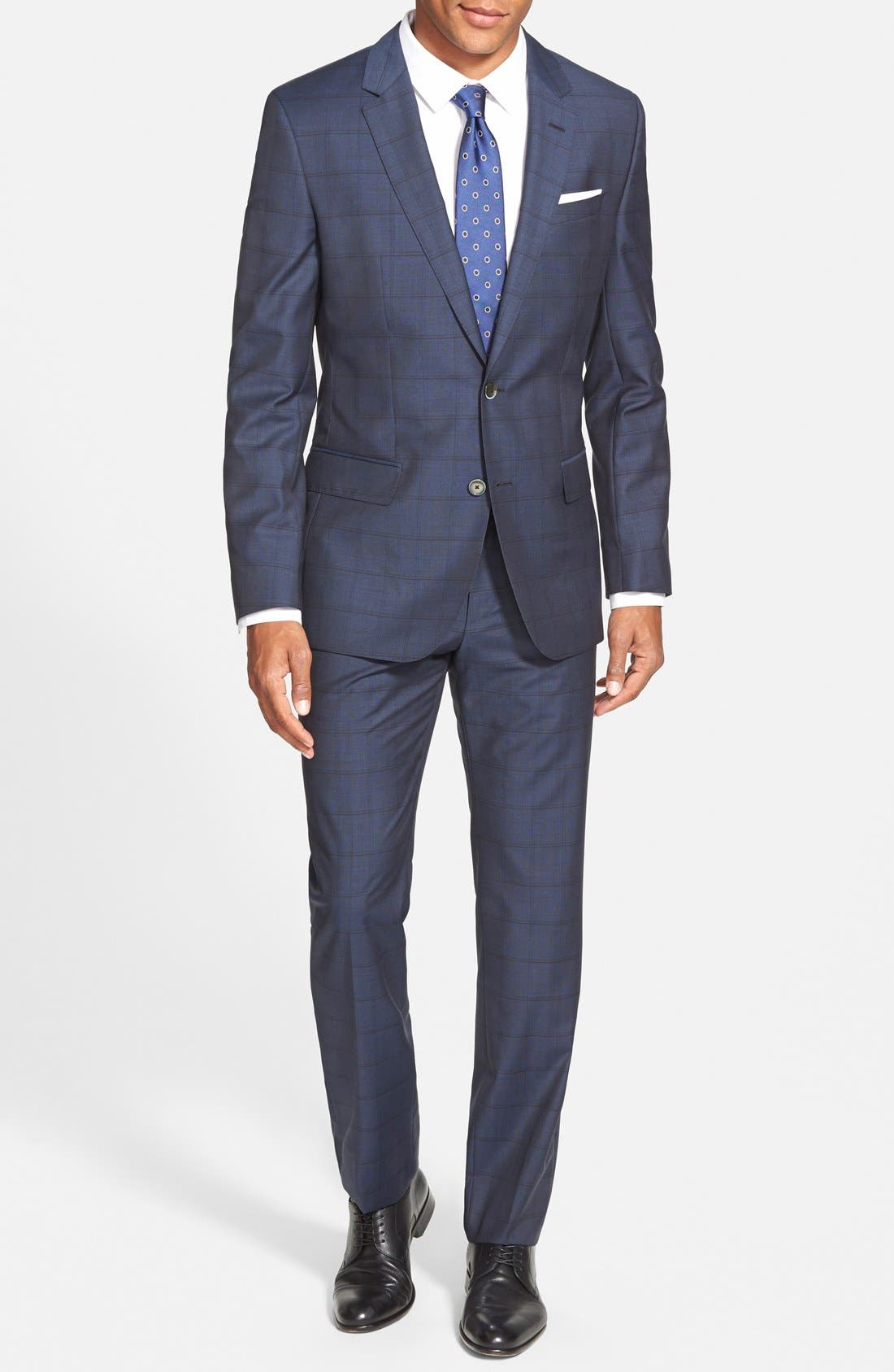 BOSS 'Hutsons/Gander' Trim Fit Check Wool Suit,                         Main,                         color, Navy