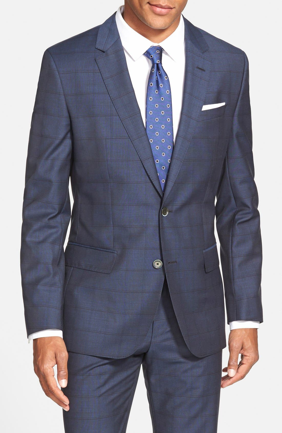 BOSS 'Hutsons/Gander' Trim Fit Check Wool Suit,                             Alternate thumbnail 3, color,                             Navy