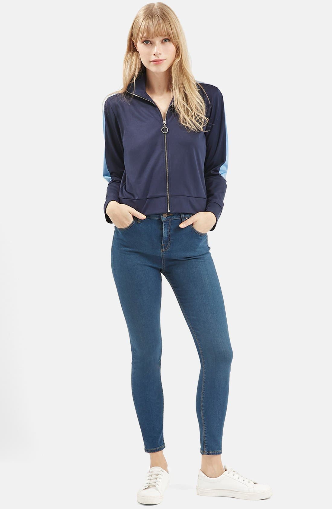 Alternate Image 2  - Topshop Moto 'Jamie' High Rise Skinny Jeans (Blue)