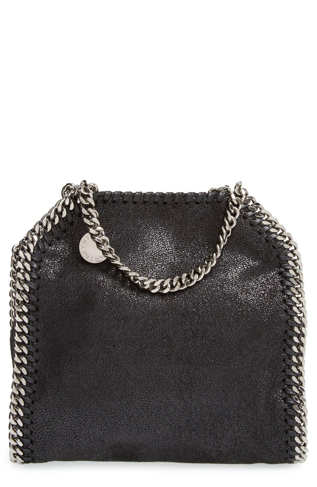 'Tiny Falabella' Faux Leather Crossbody Bag,                             Main thumbnail 1, color,                             Black