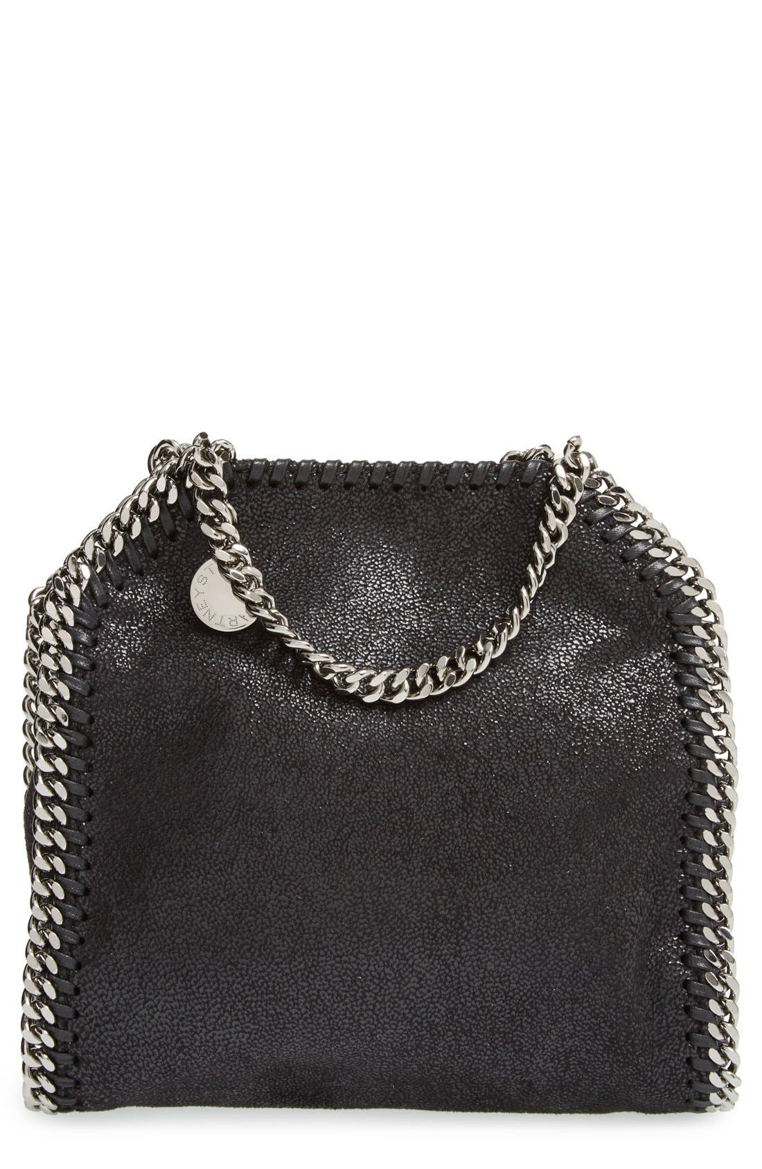 'Tiny Falabella' Faux Leather Crossbody Bag,                         Main,                         color, Black