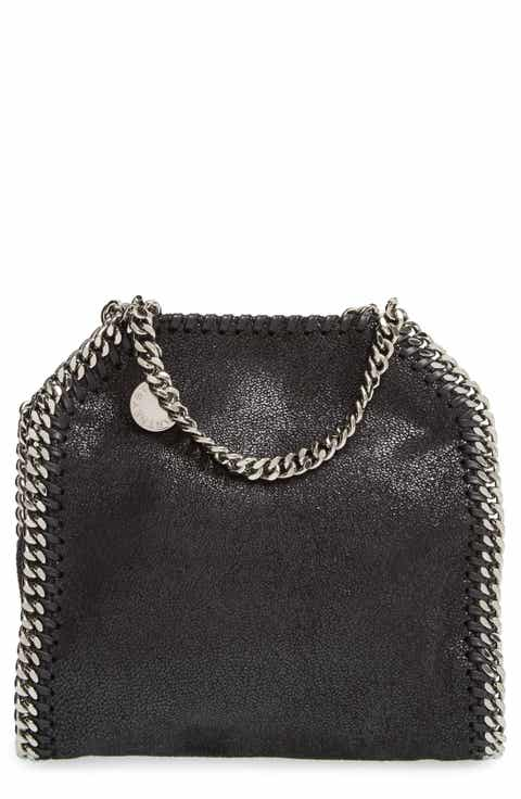 Stella Mccartney Tiny Falabella Faux Leather Crossbody Bag Black Light Grey