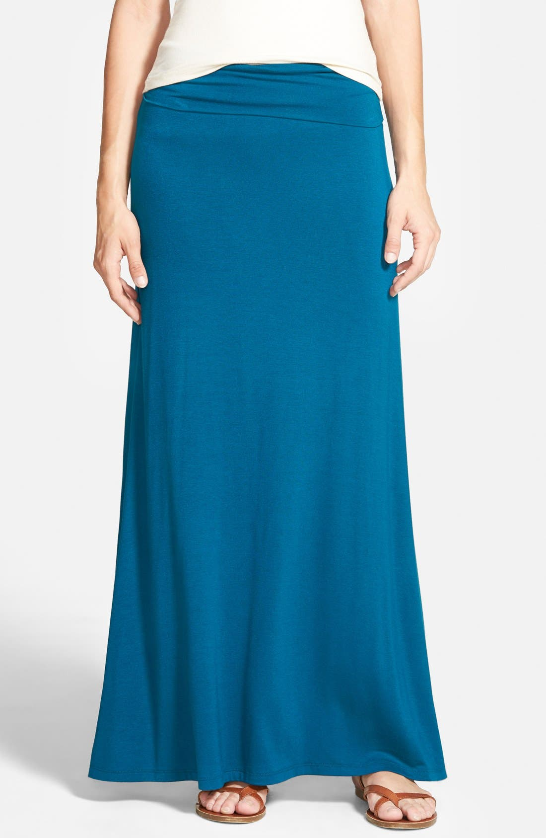 Alternate Image 1 Selected - Lily White Half-Sheer Maxi Skirt (Juniors)