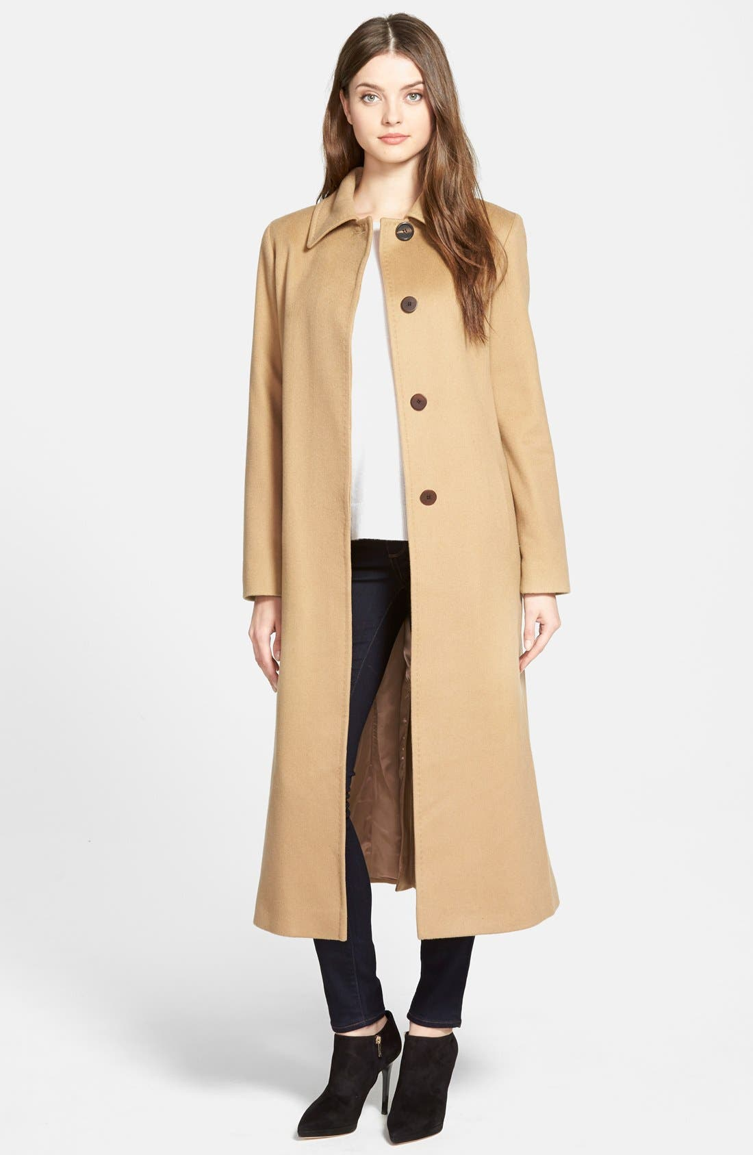 Point Collar Long Cashmere Coat,                         Main,                         color, Camel