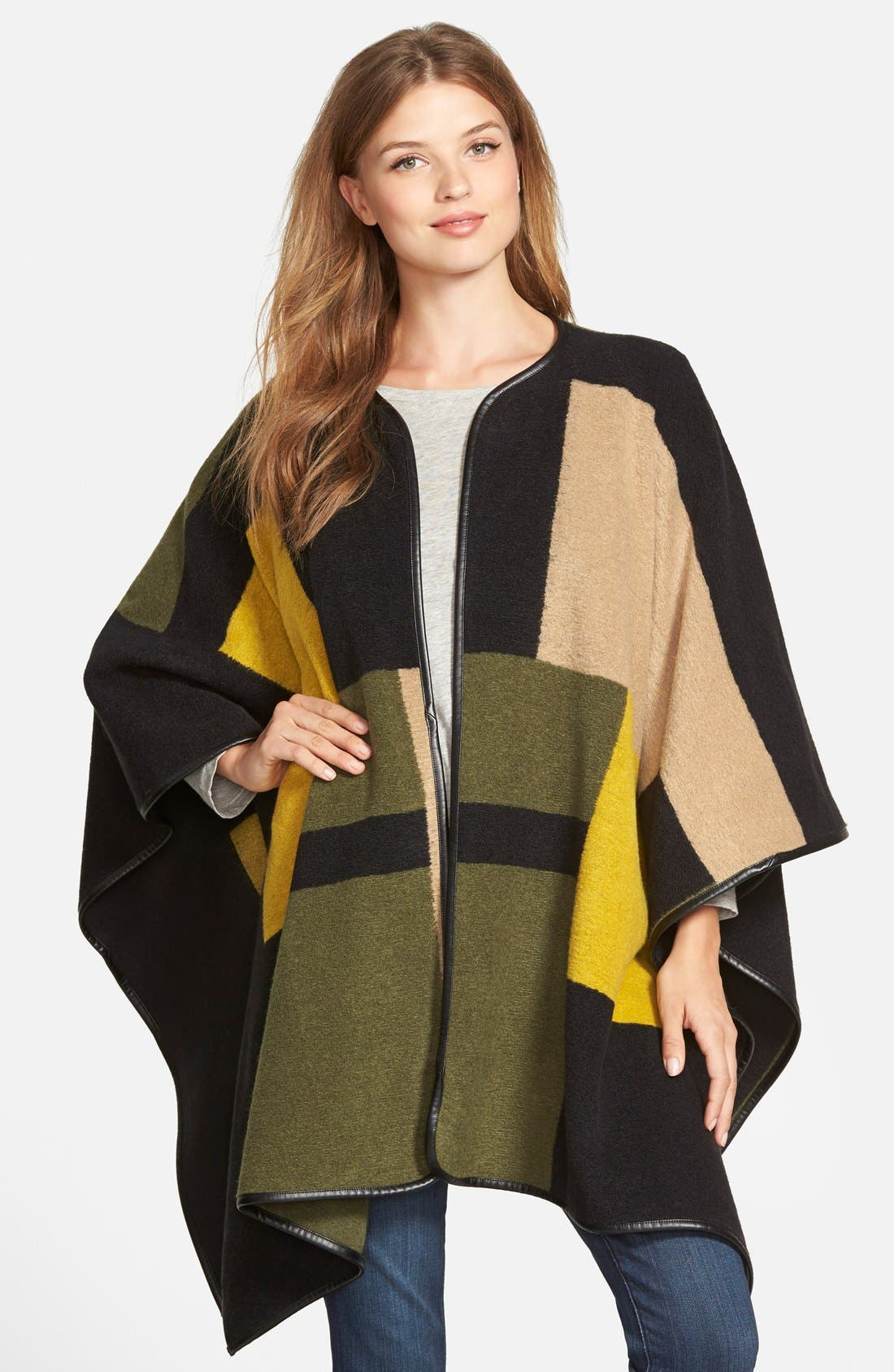 Alternate Image 1 Selected - Vince Camuto Blanket Jacquard Poncho (Regular & Petite)