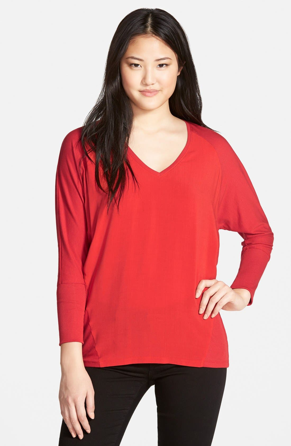 Main Image - Two by Vince Camuto 'Saturday' V-Neck Mixed Media Top (Regular & Petite) (Nordstrom Exclusive)