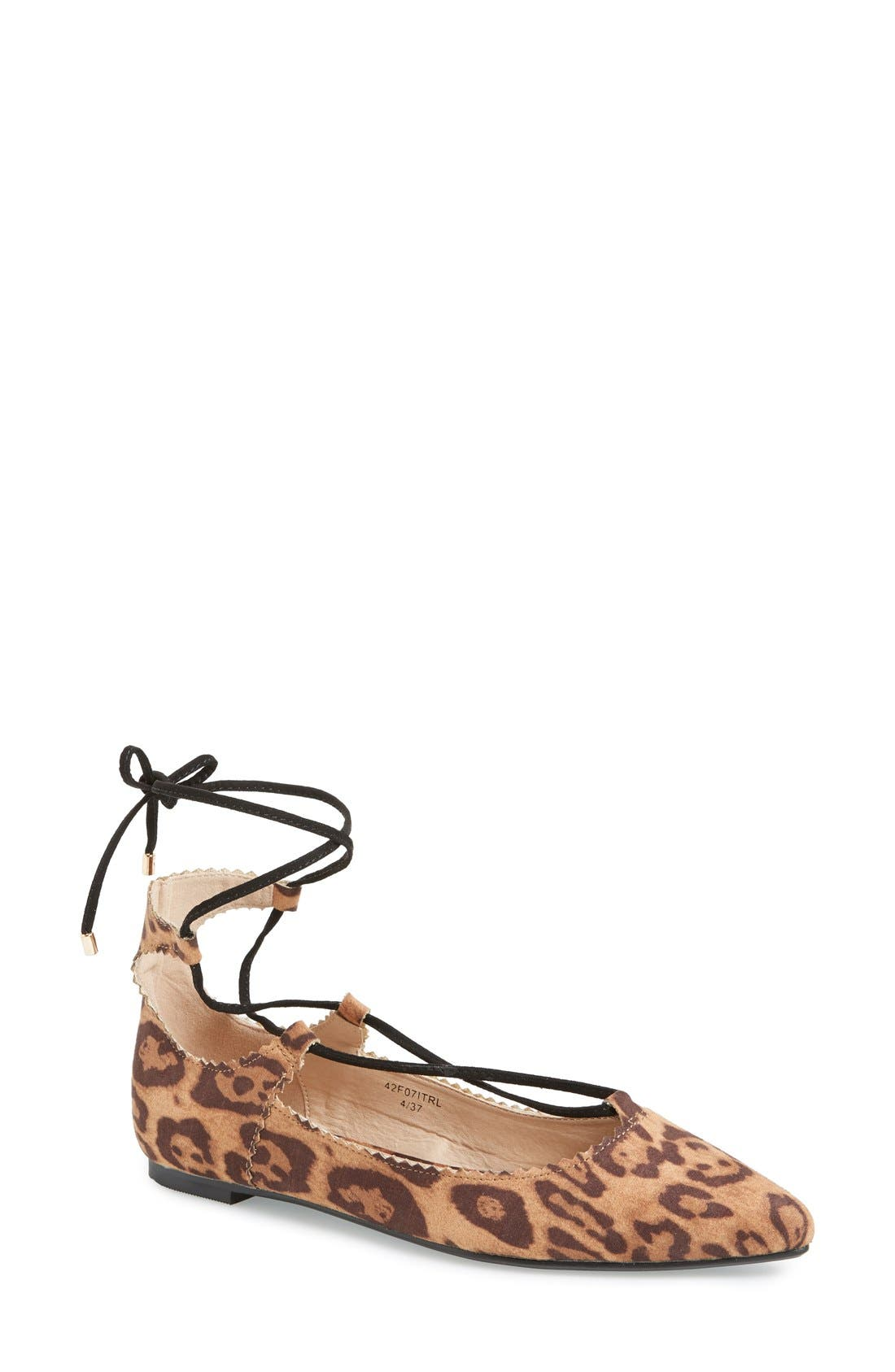 'Finest' Pointy Toe Ghillie Flat,                             Main thumbnail 1, color,                             Brown Multi