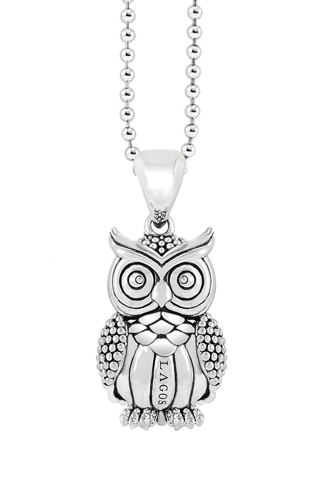 'Rare Wonders - Owl' Long Talisman Necklace,                             Main thumbnail 1, color,                             Silver/ Owl